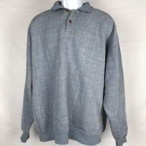 ORVIS Denim looking Waffle Stitch Henley Sweater